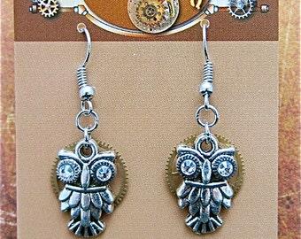 Steampunk owl earring - Steampunk earrings - Owls