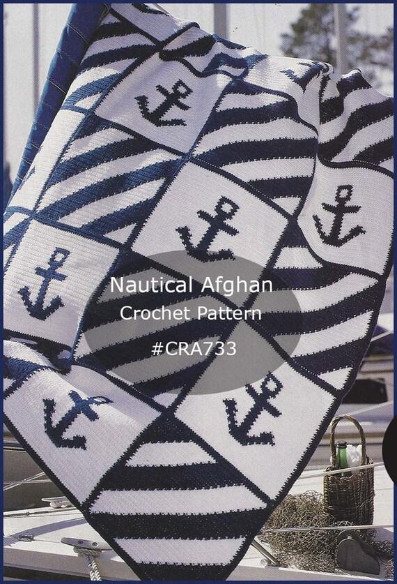 Nautical Anchor Afghan Crochet Pattern Intarsia Technique