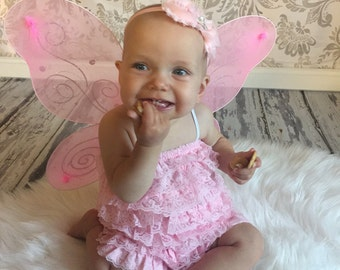 Lace Romper and princess crown headband SALE..halloween costume ideas....ruffle romper....Baby Bloomers..newborn photography prop....perfect