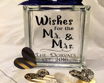 """Wedding Guest Book Wish Block - Glass Block with """"Wishes for the Mr. & Mrs."""" - Personalized for Free - Paper Hearts in your Colors - est"""