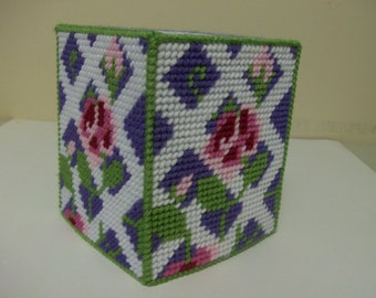 Spring Tissue Box Cover, Rose Trellis Tissue Box Cover, Needlepoint Tissue Box Cover