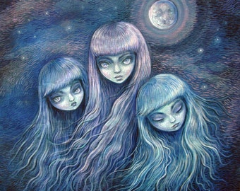 Sisters of the Moon - 8x8 print