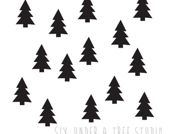24 Christmas Trees Wall Vinyl Decals Art Graphics Stickers