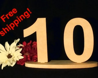 FREE SHIPPING & MORE! Table numbers! Great for weddings/receptions! Free Present and an additional #/base to practice painting/decorating!