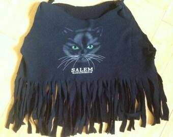 Salem Black Cat Fringed Cut Off Sweatshirt