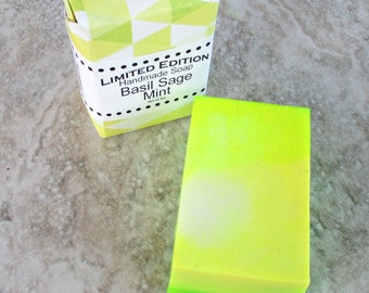Basil Sage Mint Soap, gentle cleansing soap, best bar soap, bright herbal scent, green soap