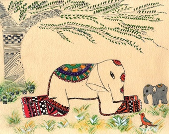 Mother's Day, Elephant Art, Seeing the World from a Child's Eye level,  Animal Illustration