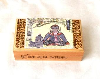 Yoga Art Box.  Elephant Art Box. Pyrography Lettering Box. Trinket Box