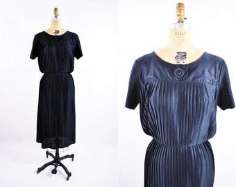 1980s dress vintage 80s black art deco pleated dress M/L