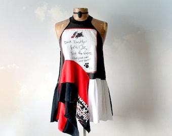 Wizard Oz Shirt Women's Art Top Lagenlook Clothes High Neck Funky Tank Top Recycled T-Shirt Eco Conscious Bohemian Clothing Medium 'DOTTIE'