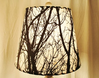 tree silhouette drum lamp shade black and white tree lokta paper nature inspired