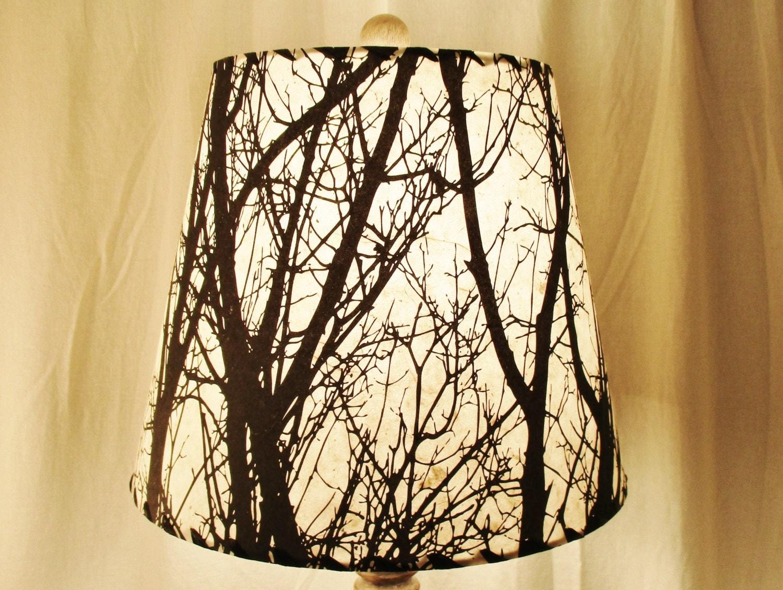 Tree Silhouette Drum Lamp Shade Black and White Tree