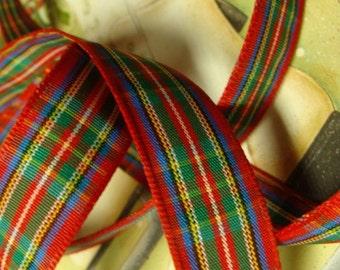2 Yards Kitsch Darling Vintage Christmas Super Soft Plaid Ribbon Trim Perfect Size yardage
