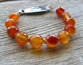 Red and Orange Agate Medical ID Bracelet, Carnelian Color Alert Bracelet, Silver or Stainless Clasp Replacement Bracelet