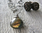 Chunky Labradorite Pendant with Large Link Sterling Silver Chain, Statement Silver and Stone Necklace