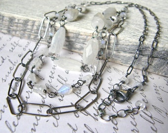 Ice Storm Moonstone Multi Strand Necklace, Sterling Silver Long Layered Necklace, Large Link Chain