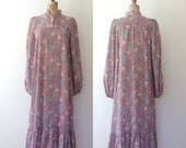 1970s dress / floral print dress / Mercado Prairie dress