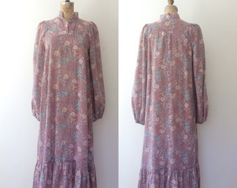1970s dress / floral print dress / Mercado Prairie dress