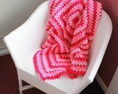 Pretty In Pink Crochet Blanket - Granny Square - Crochet Afghan - Lap Blanket - Baby Blanket - Car Blanket - Lapghan - 41 x 41