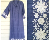 1970s hand-embroidered CHAMBRAY gauze CAFTAN