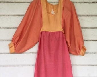 VINTAGE 70s Creamsickle patchwork hippie mini dress