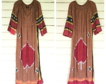 VINTAGE 1970s Indian woven cotton heart maxi dress