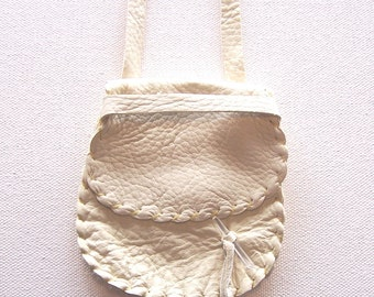 Leather Medicine Bag / Neck Pouch...CREAM...Lg Secured Flap