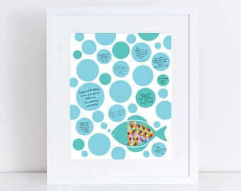 "fish signature guest book 10x8"" print baby shower new baby or birthday boy girl nursery art blue bubbles fishing rainbow"
