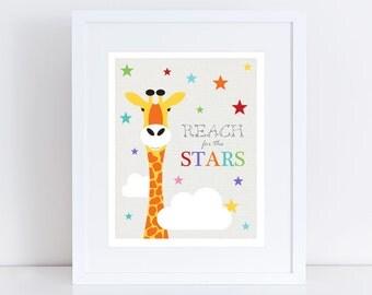 giraffe print reach for the stars - nursery art wild animal safari african jungle illustration gender neutral baby girl boy - rainbow bright