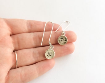 music earrings. vintage music jewelry. sterling silver hook earrings. jewelry gifts under 50. music gifts for her. unique vintage paper gift