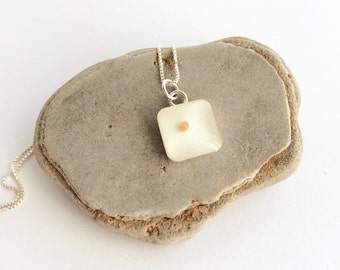 mustard seed faith - square sterling mustard seed pendant with optional necklace - womens faith gift