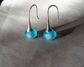 Sky blue drop earrings silver hook czech glass