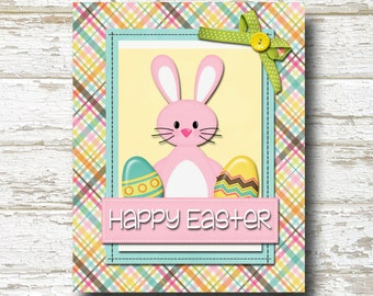 Happy Easter Bunny Easter Eggs Decorative 8x10 Print- Instant Download