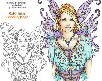 Fay Fairy Printable Coloring Book Sheets & Pages by Norma J Burnell Fairies to color Adult Coloring for Grownups Digital Coloring pages