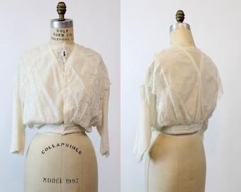 Edwardian Blouse Small / Vintage 1910 Lace Blouson Top / Midnight in Paris Blouse