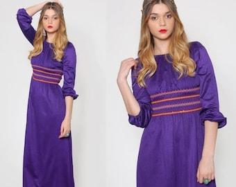 SALE Vintage 70s PURPLE Maxi Dress Long Sleeve EMBROIDERED Empire Waist Hippie Dress Bohemian Gypsy Dress