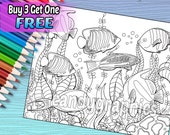 Ocean Fish - Adult Coloring Book Page - Printable Instant Download