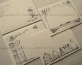 "Litchfield Hill Notepaper Stationery by Michelle L. Palmer 4.25"" x 5.5"" Honey Bee Garden Skep Hive Houses"