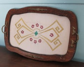 vintage hand embroidery glass covered wood tray,wood tray,embroidery,hand embroidery tray,hand embroidery wood tray,embroidery wood tray