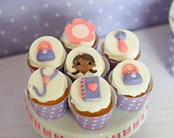 1 DOZ  Doc McStuffins Inspired Fondant Cupcake/Cookie Toppers