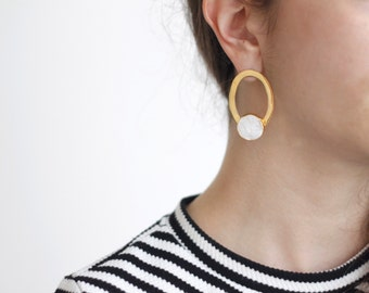Asymmetric Chalcedony Earrings-Gold Plated Brass