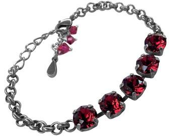 Ruby July Birthstone Crystal Bracelet, Swarovski Elements Round Stone Bracelet, Ruby Crystal Bracelet, Boho Crystal Bracelet