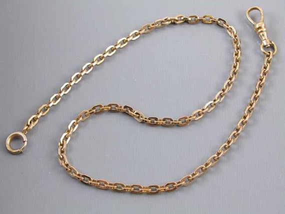 Signed JF Sturdy vintage Art Deco yellow gold filled pocket watch chain 13-7/8 inch