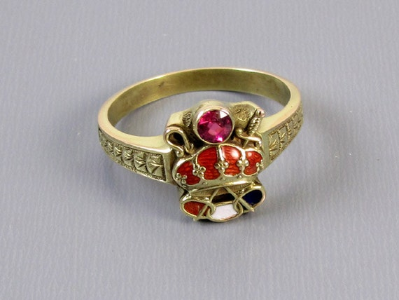 Mans or womans unisex antique Edwardian 14k enamel ruby crown Army of Crown Odd Fellows ring Patriarchs Militant Canton Chevalier, size 9.5