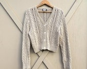 90s vintage DKNY Cropped Golden Tan Cable Knit Cotton Cardigan Sweater