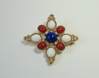 1970s  SARAH COVENTRY. AMERICANA Brooch. Gold tone with Red, White and Blue Lucite Cabochons.