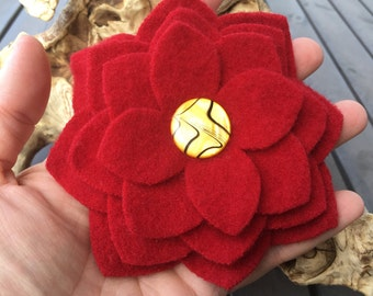Red Poinsettia Pin - Lambswool Flower Brooch Pin from Reclaimed Felted Wool - Christmas Secret Santa