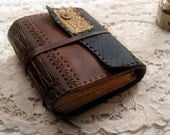 The Daisy Journal - Black & Brown Leather Journal, Over 330 Antiqued Pages, OOAK