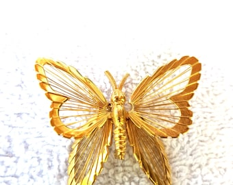 Monet Gold tone Butterfly Pin vintage Figural