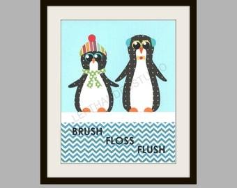 PENGUIN Art Print, Boys Bath, BROTHERS, KIDS Bath Wall Art, Penguin Wall Decor, Bathroom Art